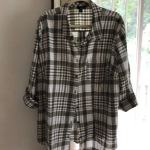 Plaid blouse with roll sleeves.  Green plaid.